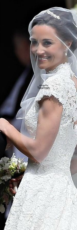 May 20, 2017: Pippa Middleton's Wedding Dress and veil, front view, veil pulled over her face before entering the church on her wedding day at St Mark's Church in Englefield Green, England. ❇Téa Tosh❇