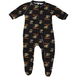 Infant Anaheim Ducks Black All Over Raglan Sleeper