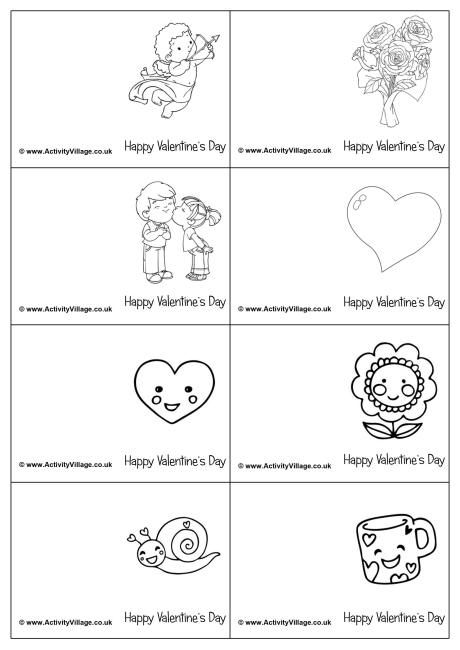 Mini Valentine colouring cards Valentines day coloring