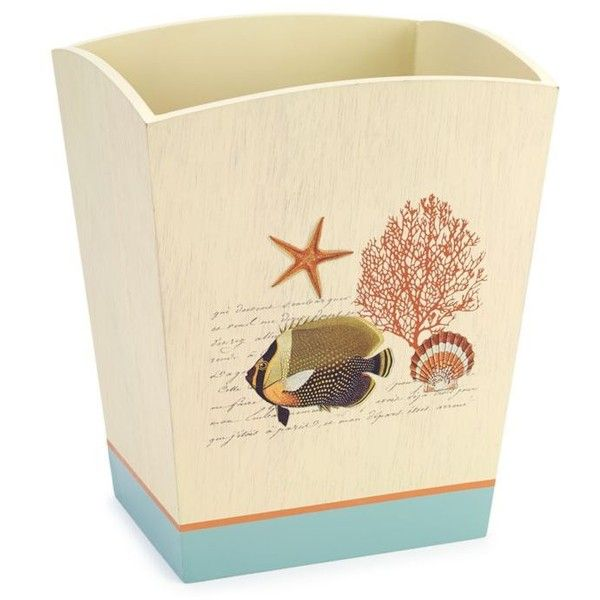 Avanti Multi Seaside Vintage Wastebasket ($48) ❤ liked on Polyvore featuring home, bed & bath, bath, bath accessories, multi, vintage bathroom accessories, avanti bathroom accessories, seashell bath accessories, seashell bathroom accessories and avanti bath accessories