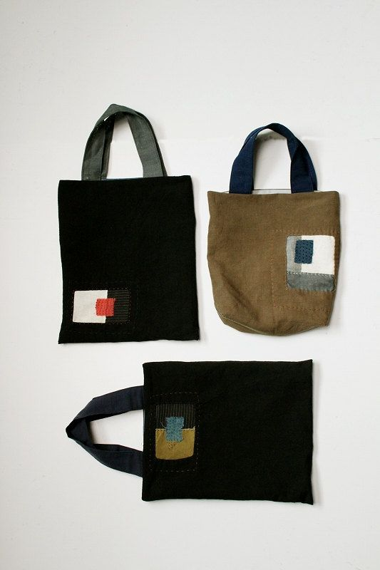 Antico lino tote bag/piccolo/patchwork/nero/marrone/sashiko/cucito/audace