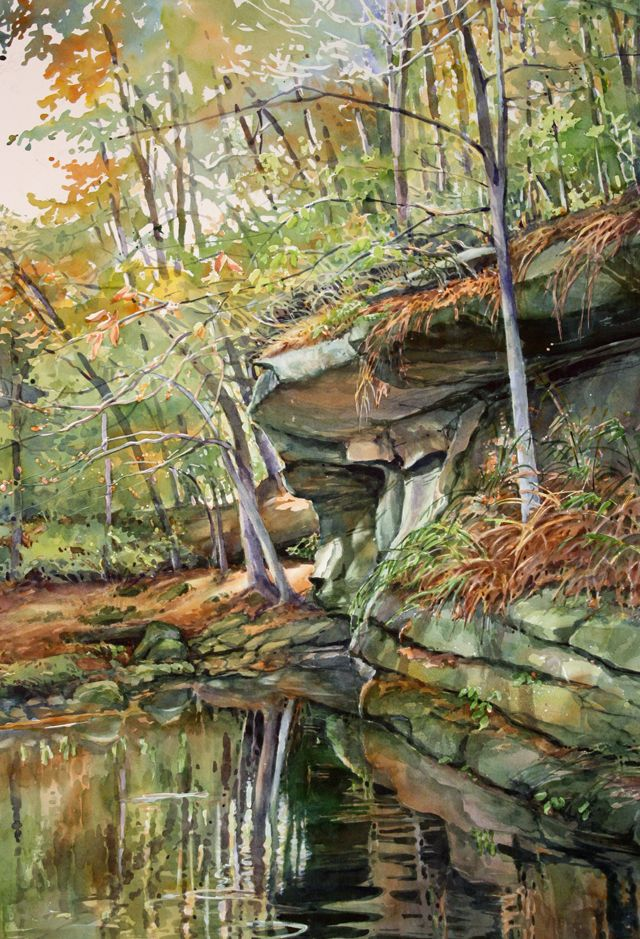 Reflection of Fall, watercolor