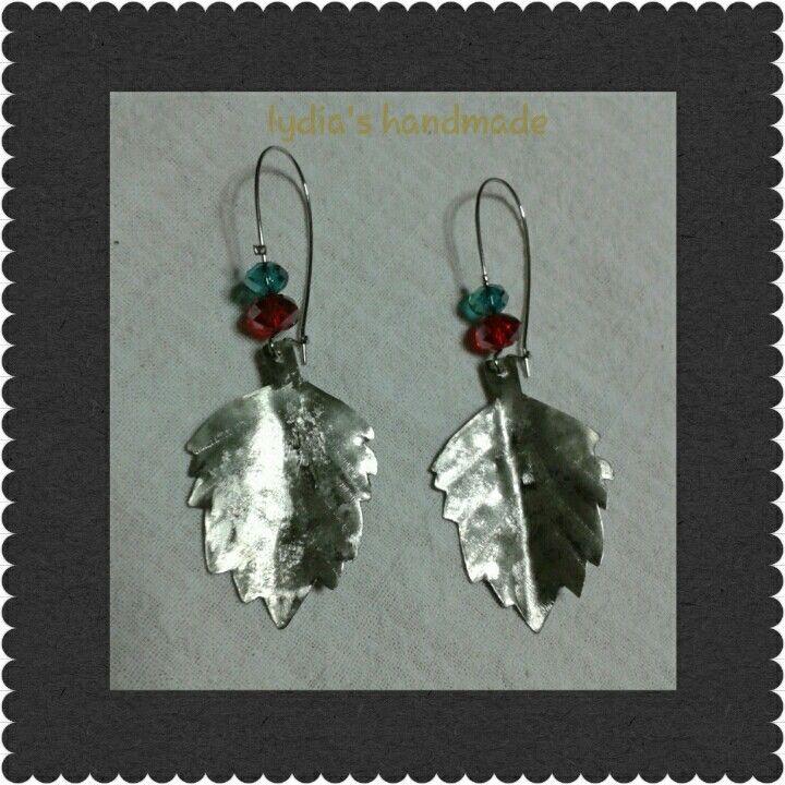 Σκουλαρίκια χειροποίητα φύλλα με αλπακά!
