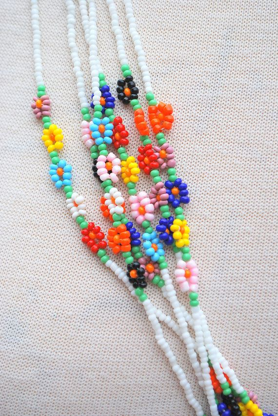 Bugle Seed Bead Fringe Native American Necklace measures 9 long and fits up to 14 neck. This is a very old. fragile and hand beaded necklace and should be handled very carefully.