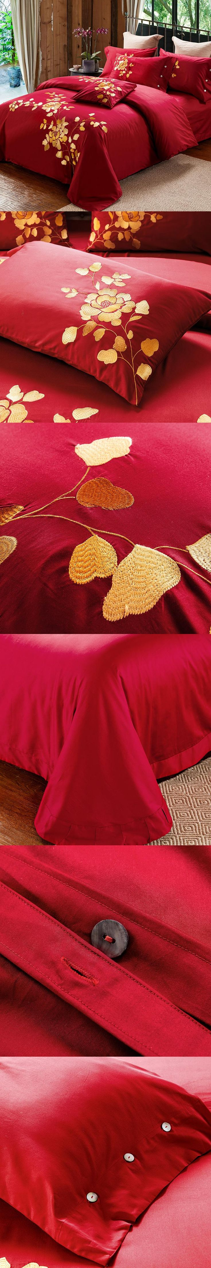 New Arrival Luxury 60S Cotton Embroidery Bedding Set Queen King Size Duvet Cover Set Wedding Style Red Color
