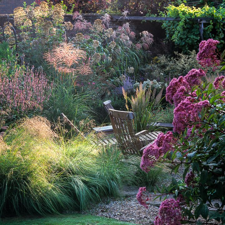 informal garden sitting space among boldly-scaled late summer perennials and grasses