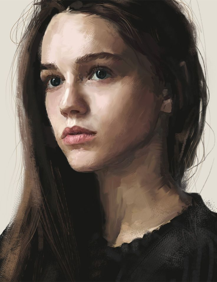 //Artist: David Seguin {figurative realism art beautiful female head woman face portrait digital painting} behance.net/….