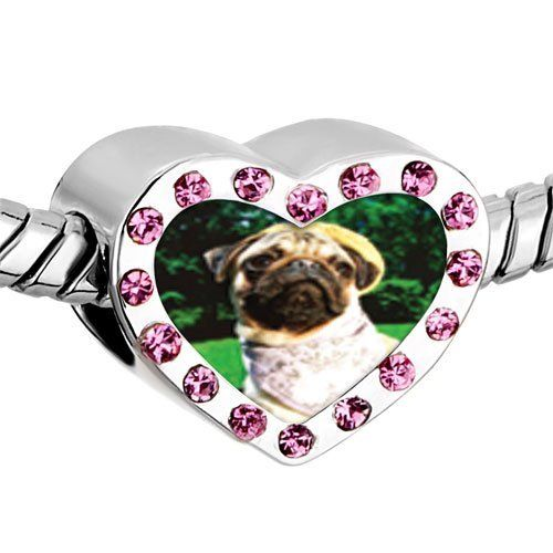 Pugster Pink Swarovski Crystal Golfing Pug Photo Heart Silver Plated Beads Fits Pandora Charm Chamilia Biagi Bracelet Pugster. $16.49. Weight (gram): 2.8. Size (mm): 12.95*7.4*10.31. Metal: Crystal. Color: Pink