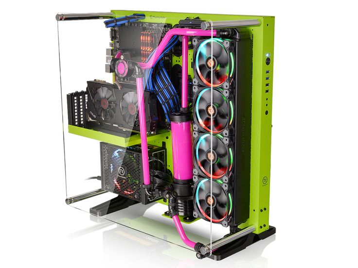 Preinstalled Two Green Riing Fans, The New Core Green Edition ATX Open  Frame Panoramic Viewing Gaming Computer Case With Tt LCS Certified
