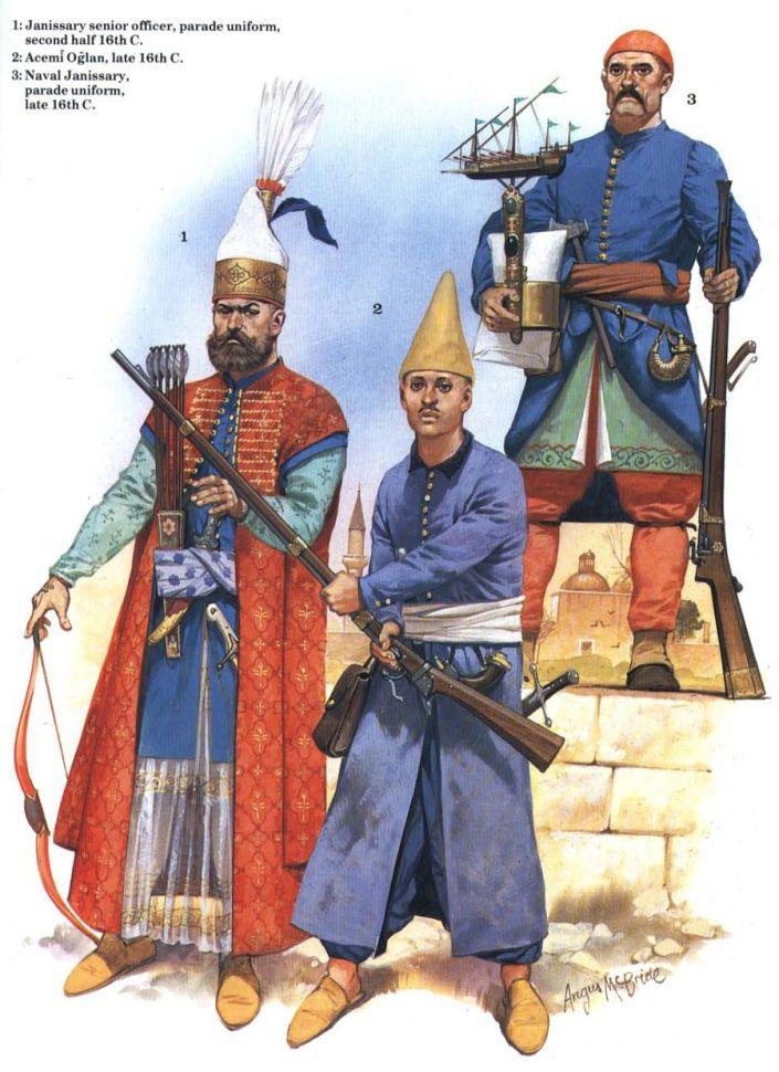 1- Officier de la garde du sultan en habit de parade; deuxième moitié du XVI ème siècle. 2- Oglan Acemi, fin XVI ème siècle. Janissaire stagiaire avec son couvre chef caractéristique. 3- Janissaire de la marine en habit de parade; fin XVI ème siècle. Lors des parades, les janissaires portaient leur symboles sur leur couvre chef.