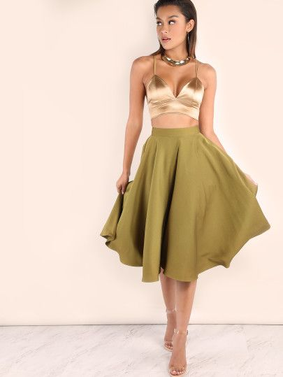 Are you ready to have fun tonight? #Olivegreen #Bandwaist #Skirt
