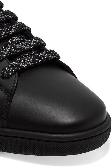 Saint Laurent - Court Classic Metallic Snake-trimmed Leather Sneakers - Black