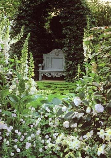 White Bench In A Moonlight Garden