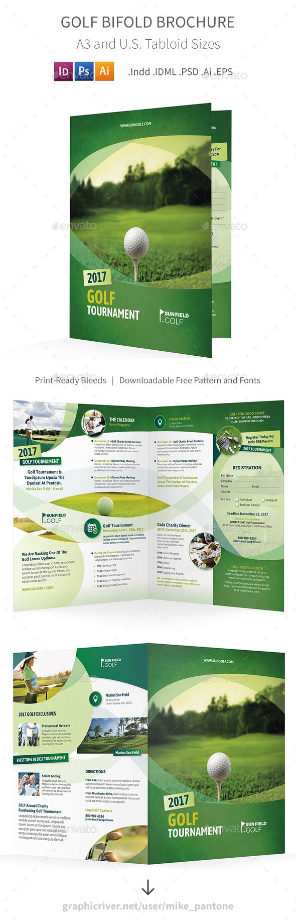 Golf Bifold / Halffold Brochure 7 olf Bifold / Halffold Brochure 7 Clean and modern bi-fold brochure for your golf club, tournament, guide…  Features:      Tabloid Size 11×17 folded into 8.5×11, or A3 folded into A4 bi-fold brochure     Photoshop CMYK 300 dpi, Indesign, and Illustrator formats .Psd .Indd .IDML .Ai .EPS