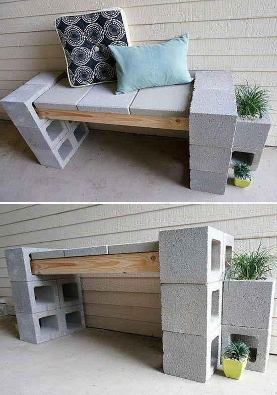 Möbel Diese DIY-Cinder-Blockbank wurde von 'Decoist' während der Renovierung ihrer Veranda entworfen und verfügt über ein komplettes Tutorial. Sie zeigen auch verschiedene Varianten des Hinzufügens der Pflanzgefäße