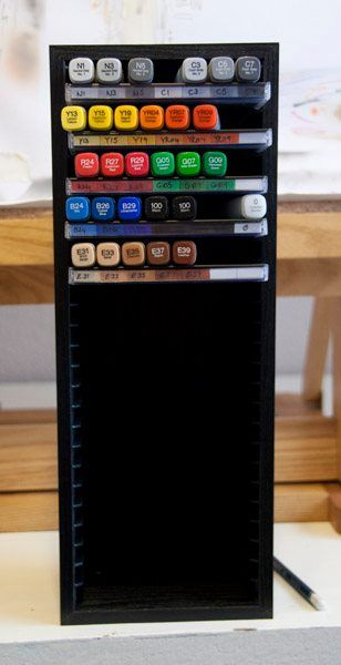Re-use CD rack for Copic storage - 20 Clever Ways to Organize Your Coloring Supplies