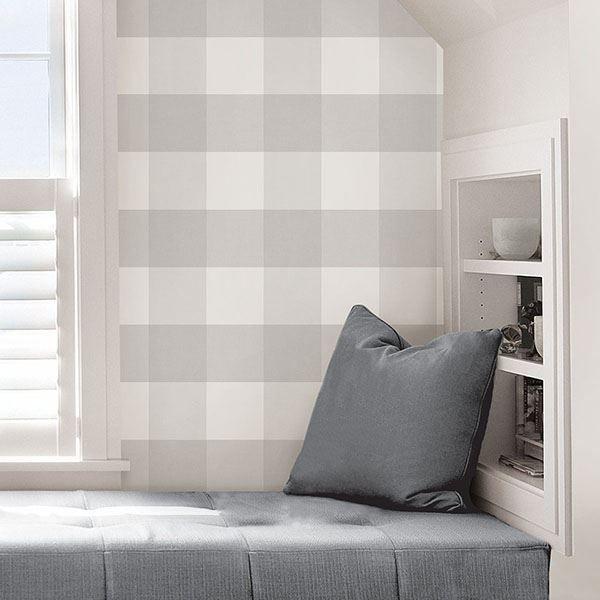 Farmhouse Plaid Peel Stick Wallpaper Plaid Wallpaper Nuwallpaper Peel And Stick Wallpaper