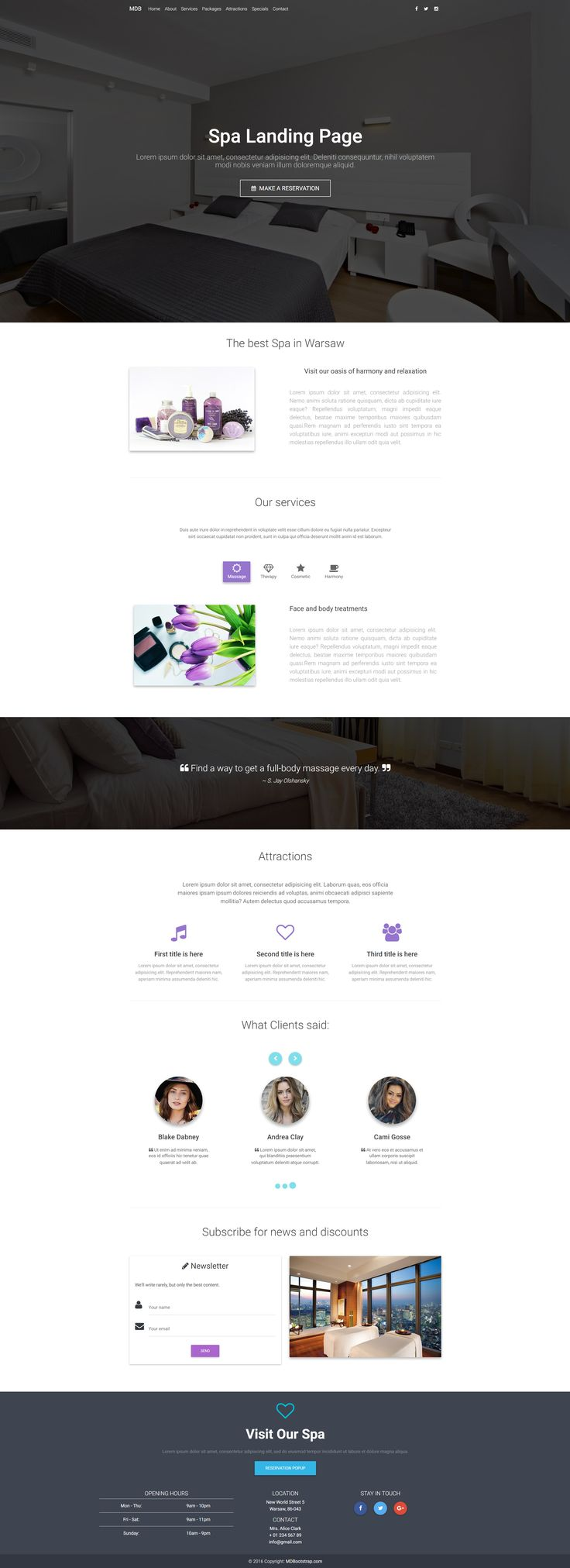 Material Design Spa Landing Page perfect for businesses related to leisure.