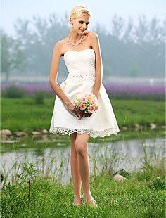 a-vonal kedvese rövid / mini tüll alatt szatén esküvői ruha – EUR € 107.24