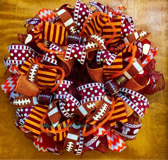 Check out this item in my Etsy shop https://www.etsy.com/listing/460018008/virginia-tech-wreath-vt-football-wreath