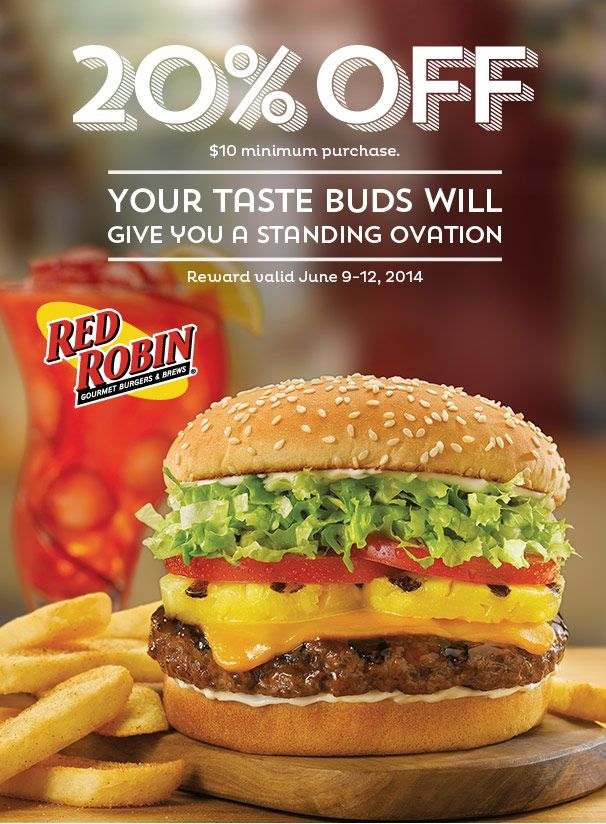 20% off $10  Expires June 9-12 2014 http://www.pinterest.com/TakeCouponss/red-robin-coupons/