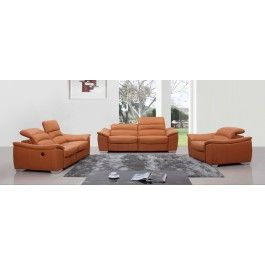 Divani Casa E9034 Modern Orange Italian Leather Sofa Set W Recliners Italienische LedersofaLedercouchgarniturWohnzimmer