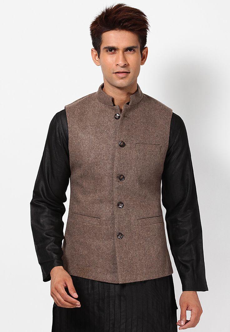 NJ 0056 Solid Brown Nehru Jacket on 26 December, 2013 - Buy Solid Brown Nehru Jacket Online at Low Price in India. #Fashion #Apparel #Shopping #Men