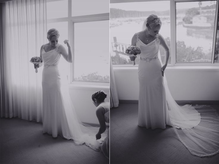 Mel putting on her dress