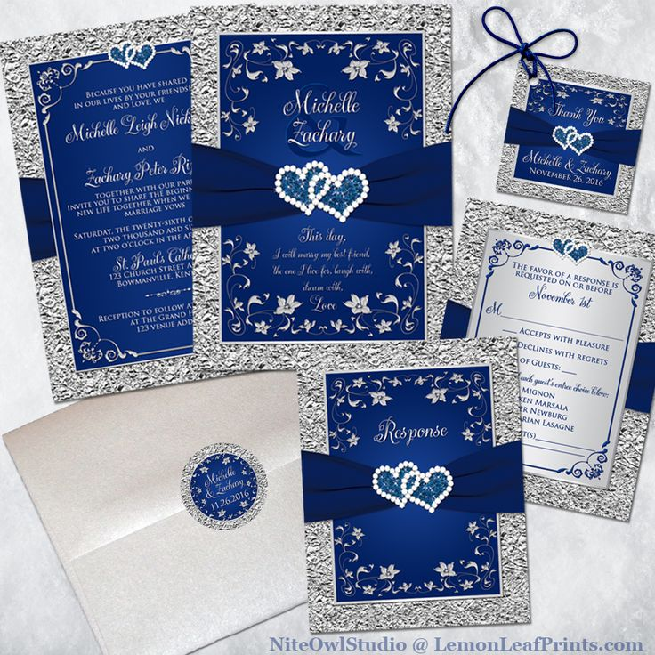 This navy blue and silver gray floral wedding invitation and matching items features a printed on ribbon with a pair of printed on diamond and faux glitter double hearts buckle brooch on it. Other colors available upon request.