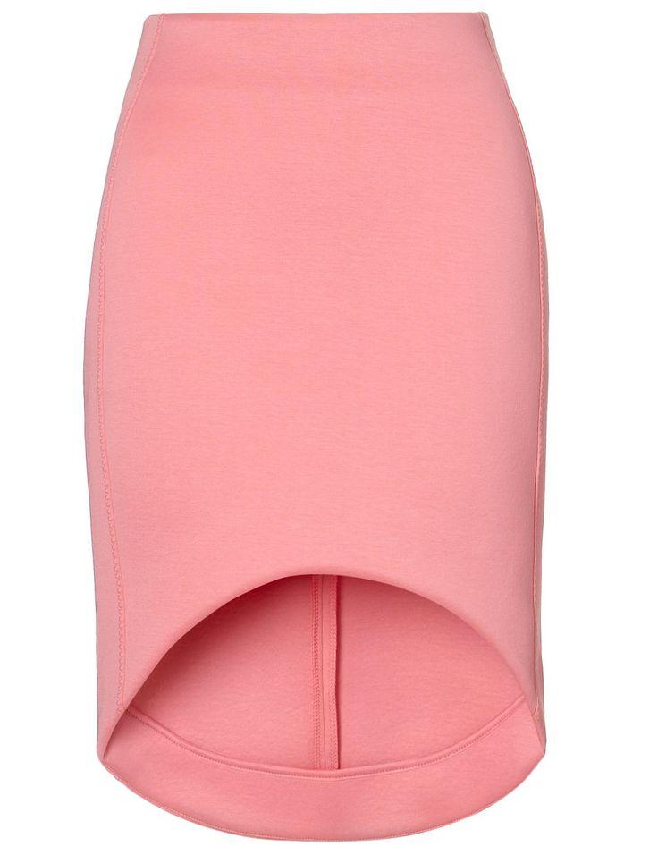 Sewing Inspiration: Bubblegum Cut-Away Scuba Skirt | Josh Goot Curved Hemline