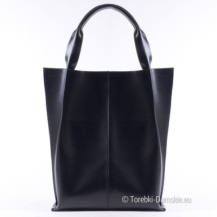 Torba shopperbag z licowanej skóry naturalnej - produkt polski. Promocja na 10-lecie sklepu Torebki-Damskie.eu - zapraszamy! http://torebki-damskie.eu/skorzane/1454-duza-torba-damska-shopper-z-czarnej-licowanej-skory-naturalnej.html