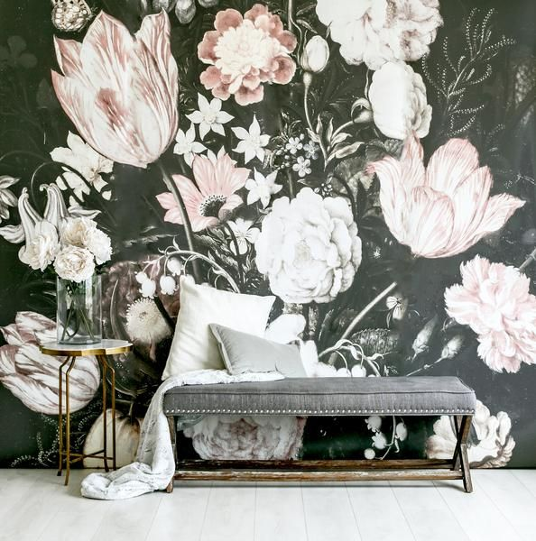 An elegant twist to your space! Details include: Black, white and pink floral wallpaper Smooth, matte finish Includes five panels