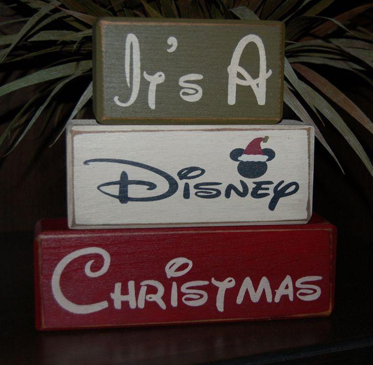 It's A DISNEY Christmas Mickey Mouse Santa Primitive Wood Sign Blocks Distressed Stacking Blocks Seasonal Holiday Christmas Decor by SimpleBlockSayings on Etsy