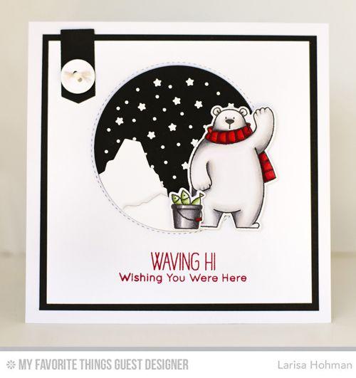 Handmade card from Larisa Hohman featuring Birdie Brown Polar Bear Pals stamp set and Die-namics, Starry Circle, Blueprints 18, and Birdie Brown Icebergs Die-namics #mftstamps