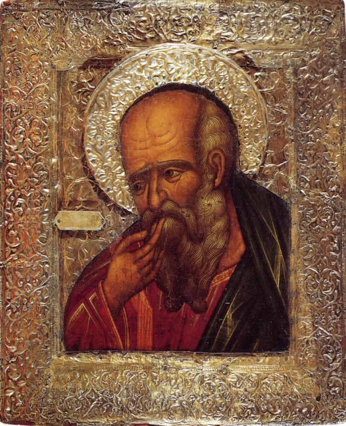 "St John the Apostle | The Theologian in Silence |St John ""in Silence"", with Byzantine influences, Moscow, c17th."