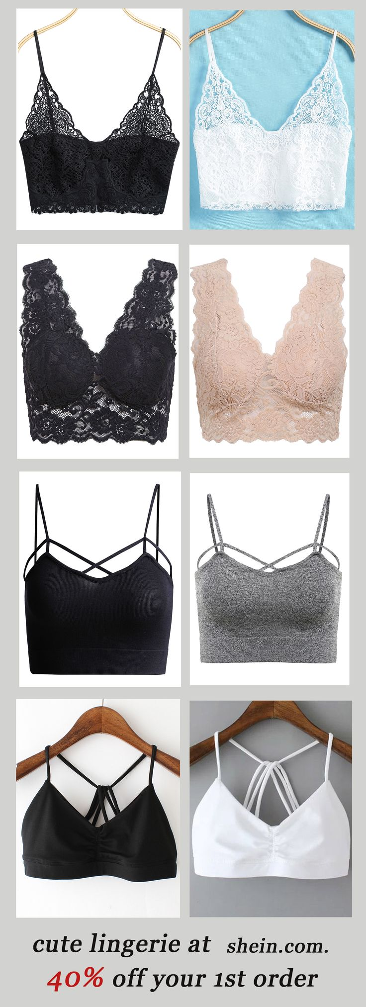 Cute bralette collection, sheer bralette, lace bralette,racerback bralette and more with 40% off 1st order!