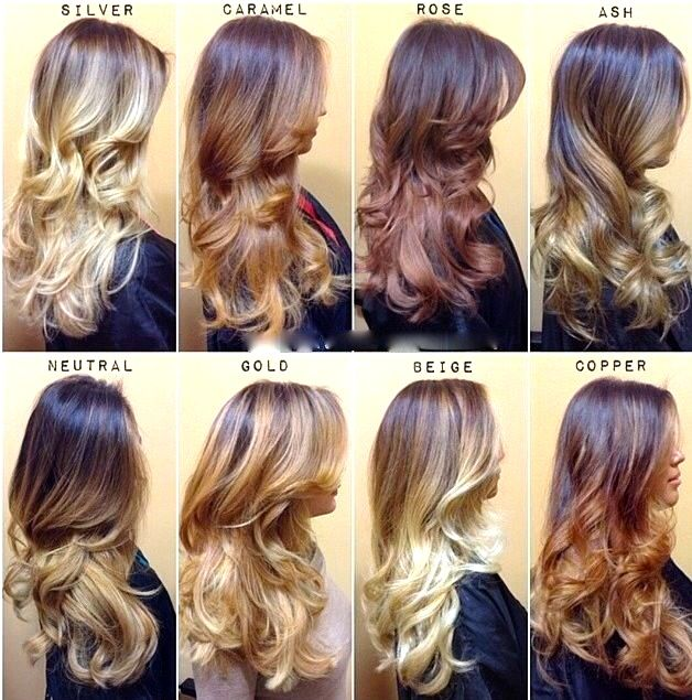 Balayage Custom Colour Chart 2015, I kind of like the copper one. I am still struggling to see the diff between balayage and ombre