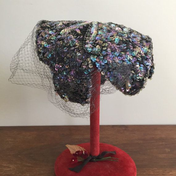 Sequinned Saks Fifth Ave Debutante hat with face veil by lilynymph