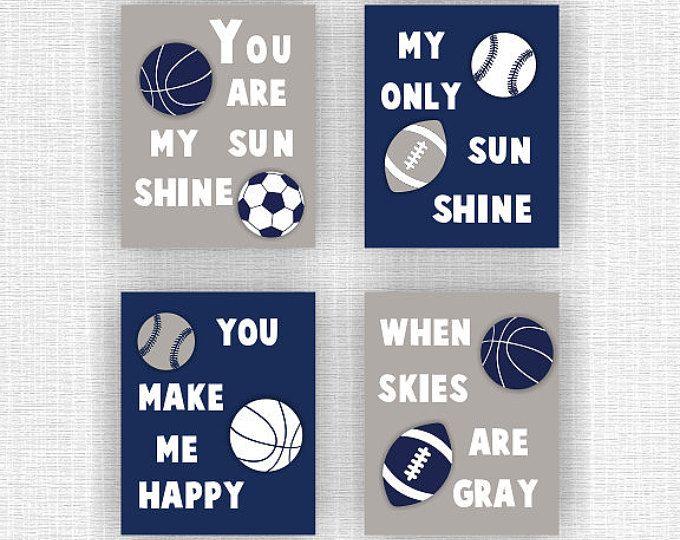 Azul marino y gris chico deportes pared decoración juego de 4, 8x10You son mi sol, fútbol, béisbol, fútbol, deportes grabados instantánea descargar