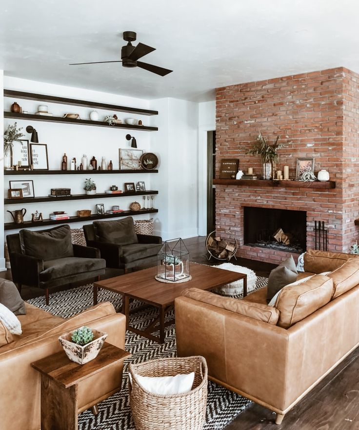 This Living Room Transformation Features a 100-Year-Old Rustic Fireplace Mantel