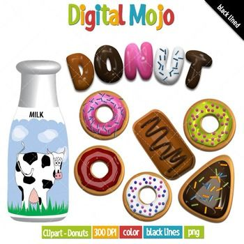 """This clipart donut set has a 3D type effect. They are great for cover pages and section headings within your lesson plans. What you get: - The word """"Donut"""" in decorative font - 11 different types of donuts (doughnuts), which are: 9 round donuts in various toppings and frosting colors, 1 rectangle and 1 triangle shaped donut - Container of milk with cow label - Box of donuts - 12 black lined images"""
