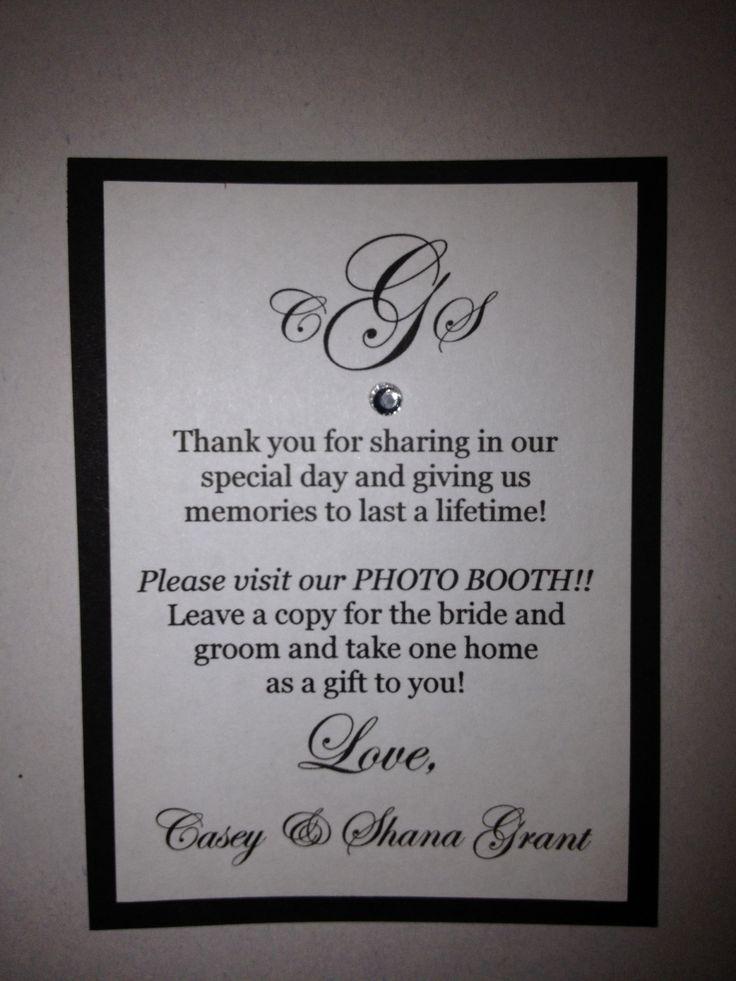 Wedding photo booth favor poem   Winter Weddings ...