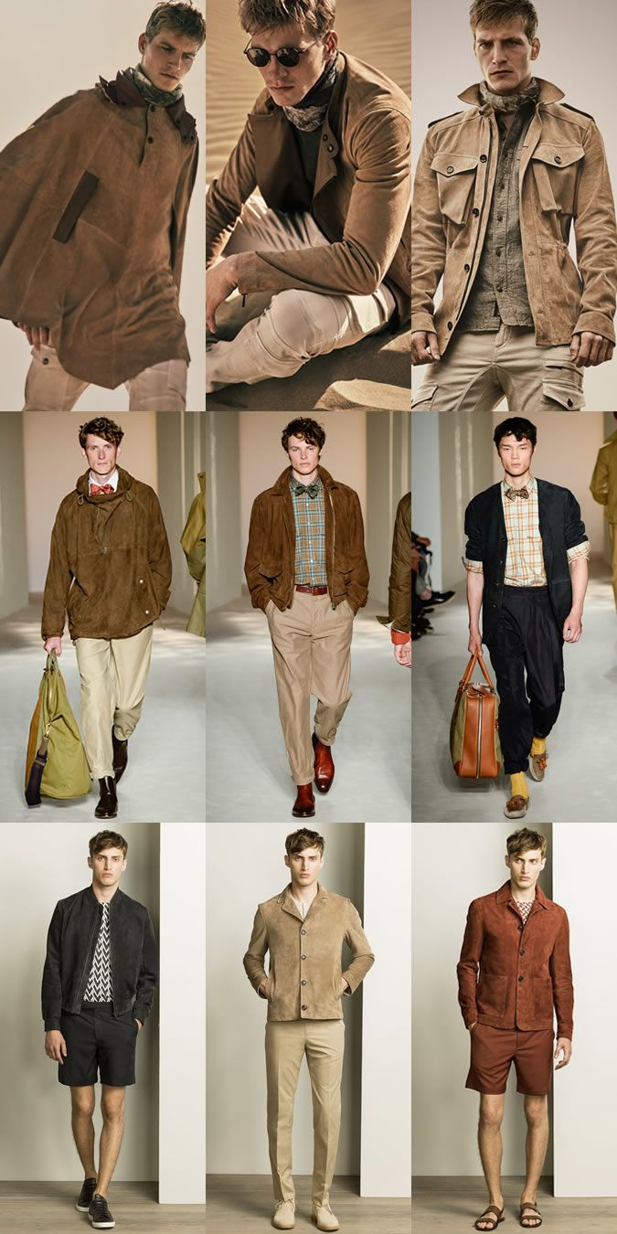 Men's Suede Jacket and Outerwear on the menswear runways at Belstaff, Dunhil…