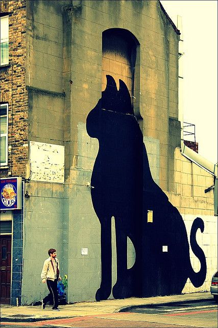 Cat | Big Cat by SAM3, Hackney, London. ~via Herschell Hershey, Flickr