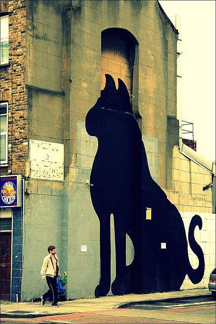 Big Cat by SAM3, Hackney, London.Wall Art, Big Cats, Herschel Hershey, Cat Painting, London Travel, Street Art, Black Cat, Baby Cat, Streetart