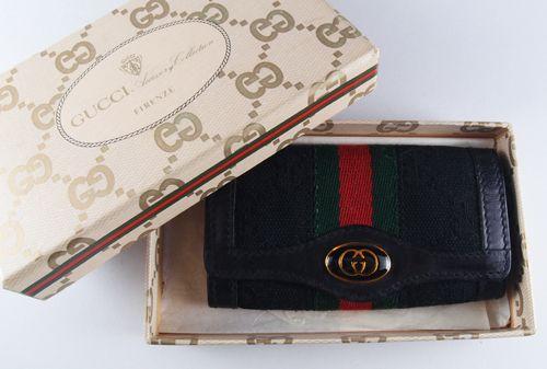 Vintage GUCCI ブラックGG柄キーホルダー! アクセサリーコレクションのレアなブラックGGです。 箱付きです。 比較的表裏ともに綺麗な状態です。
