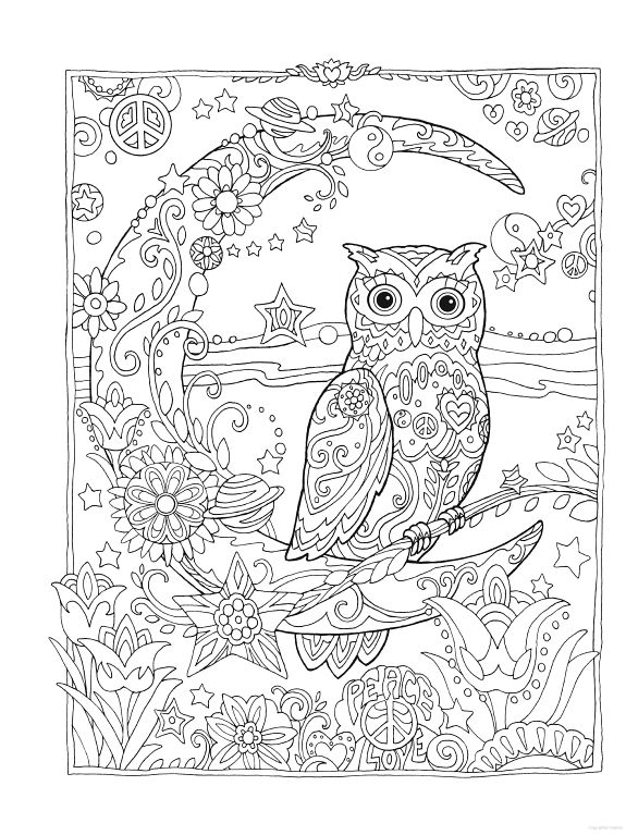 owl owls crescent moon flowers peace space coloring pages colouring adult detailed advanced printable kleuren voor - Printable Owl Coloring Pages For Adults
