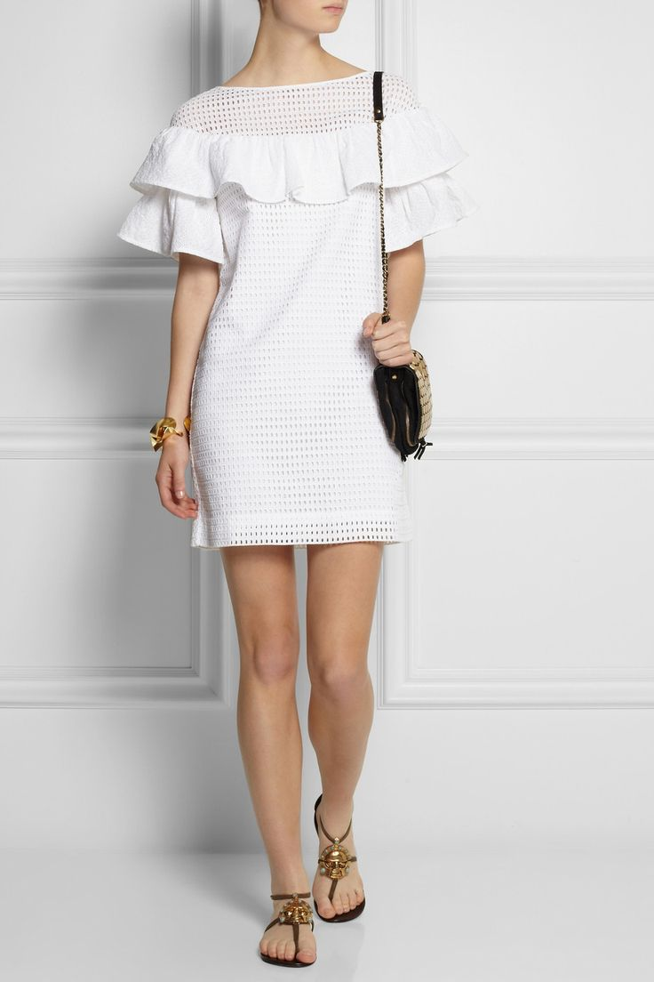Broderie anglaise dress white navy.