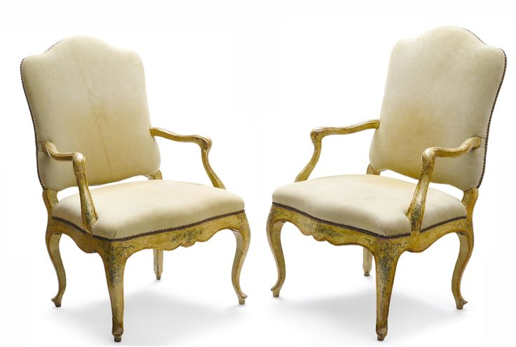 Pair of Italian Rococo Parcel Gilt and Paint Decorated Armchairs. Courtesy of  Foster Gwin.