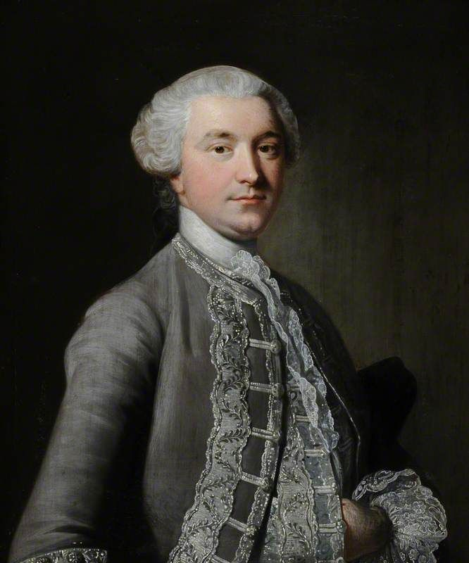 Portrait of an Unknown Man in a Grey Suit  by Thomas Hudson  (style of)       Date painted: c.1750  Collection: National Trust  Where to see this painting?  National Trust, Treasurer's House, York  Minster Yard, York, North Yorkshire, England, YO1 7JL
